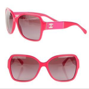 CHANEL Patent CC Sunglasses Pink.